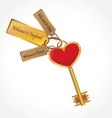 gold key with tags vector image