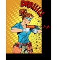 Woman drilling wall drill vector image