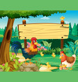 wooden sign and chickens in park vector image
