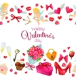 Seamless horizontal borders with Valentines Day vector image