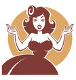 portrait of surprised pin up lady vector image vector image