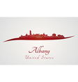 Albany skyline in red vector image vector image