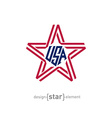star with american flag colors design element vector image