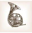 French horn hand drawn sketch style vector image