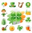 Happy Saint Patrick day icon set flat icons vector image