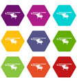 helicopter icon set color hexahedron vector image