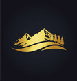 mountain hill travel nature gold logo vector image