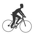 man riding bike silhouette icon vector image