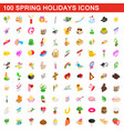 100 spring holidays cons set isometric 3d style vector image