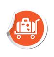suitcase icon orange sticker vector image vector image