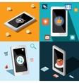 Four smart phones in panels vector image vector image