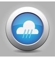 blue metal button with weather - rainy vector image
