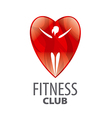 logo in red heart girl vector image