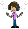 Cartoon man in headphones vector image vector image