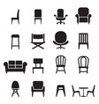 chair seating icons set vector image