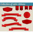 Collection of red retro ribbons and tags vector image