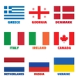Set of square national flags with title for web vector image