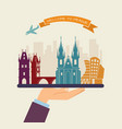 welcome to prague attractions of prague on a tray vector image