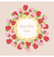Vintage frame with roses and tulips vector image