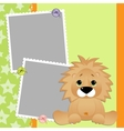 Cute template for postcard with lion vector image vector image