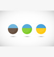 country fields flat icon set vector image