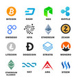 criptocurrency icon set vector image