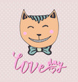 cute kitten with pink heart loving cat can be vector image