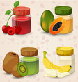 Fruits and juice in a glass jar Set 3 vector image