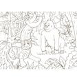 Jungle animals cartoon coloring book vector image
