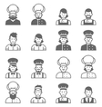 People occupations icons Cook avatar profile vector image