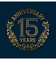 Golden emblem of fifteenth years anniversary vector image