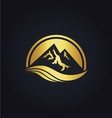 Mountain icon gold logo vector image
