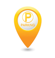 parking icon on yellow pointer vector image vector image