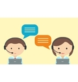 Man and woman in headset Call center concept vector image