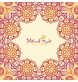 Vintage ethnic square floral frame in Indian vector image vector image