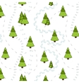 Christmas Trees and Tracks Seamless Pattern vector image