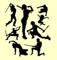 using weapon martial art silhouette vector image