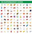 100 supermarket set cartoon style vector image