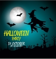 poster halloween party with witch isolated vector image