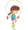 A little girl playing skipping rope vector image