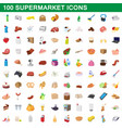 100 supermarket set cartoon style vector image