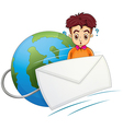 A man thinking in the middle of the envelope and vector image