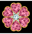 Flower gem stone composition vector image