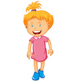 Little girl in pink dress vector image vector image