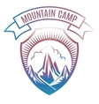 Colorful mountain camp label design vector image