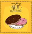 donuts with chocolate frosting and pink glaze vector image