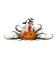 pumpkin witch vector image