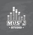 retro sound record studio logo badge vector image