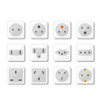 power socket icon set world standards for vector image