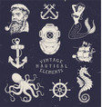 Vintage Hand Drawn Nautical Set vector image vector image